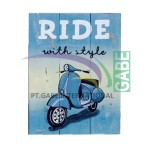 LUKISAN VINTAGE VESPA RIDE WITH STYLE BIRU
