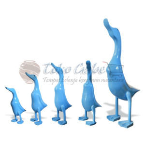 PATUNG BEBEK BIRU MUDA SET OF 5